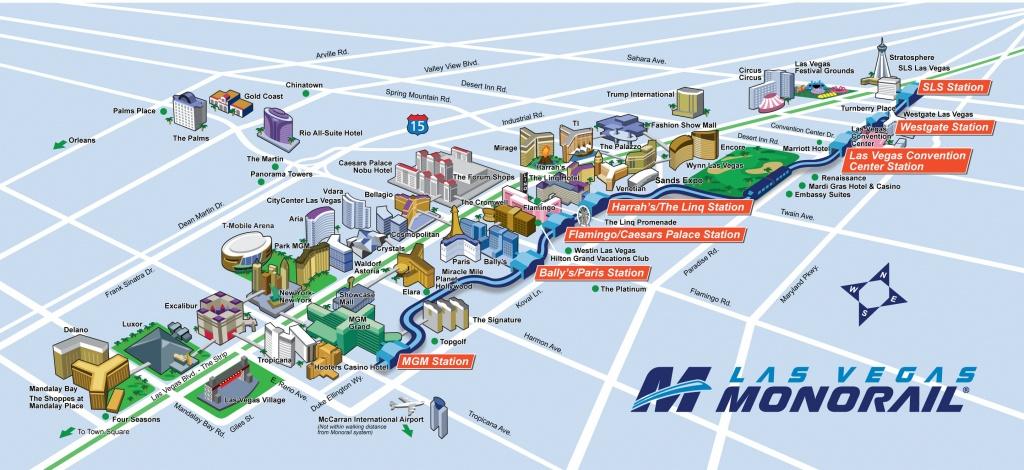 Route Map   Official Las Vegas Monorail Map - Printable Las Vegas Strip Map 2017