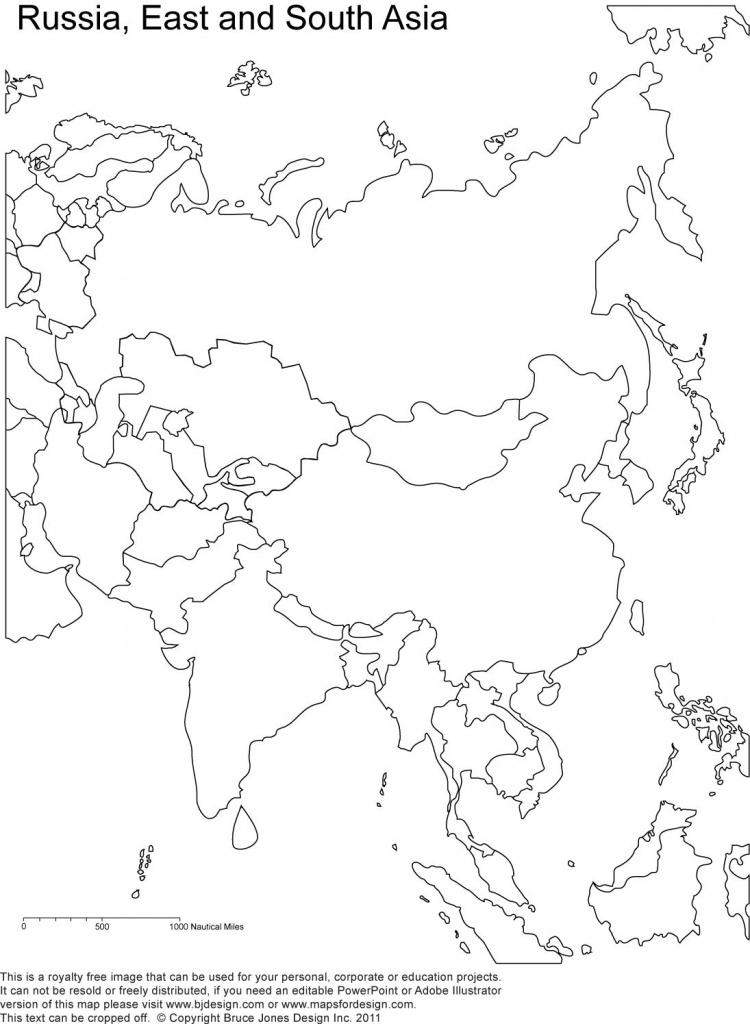 Russia And Asia, Blank Printable Map, Royalty Free | Geography | Map - Free Printable Map Of Asia