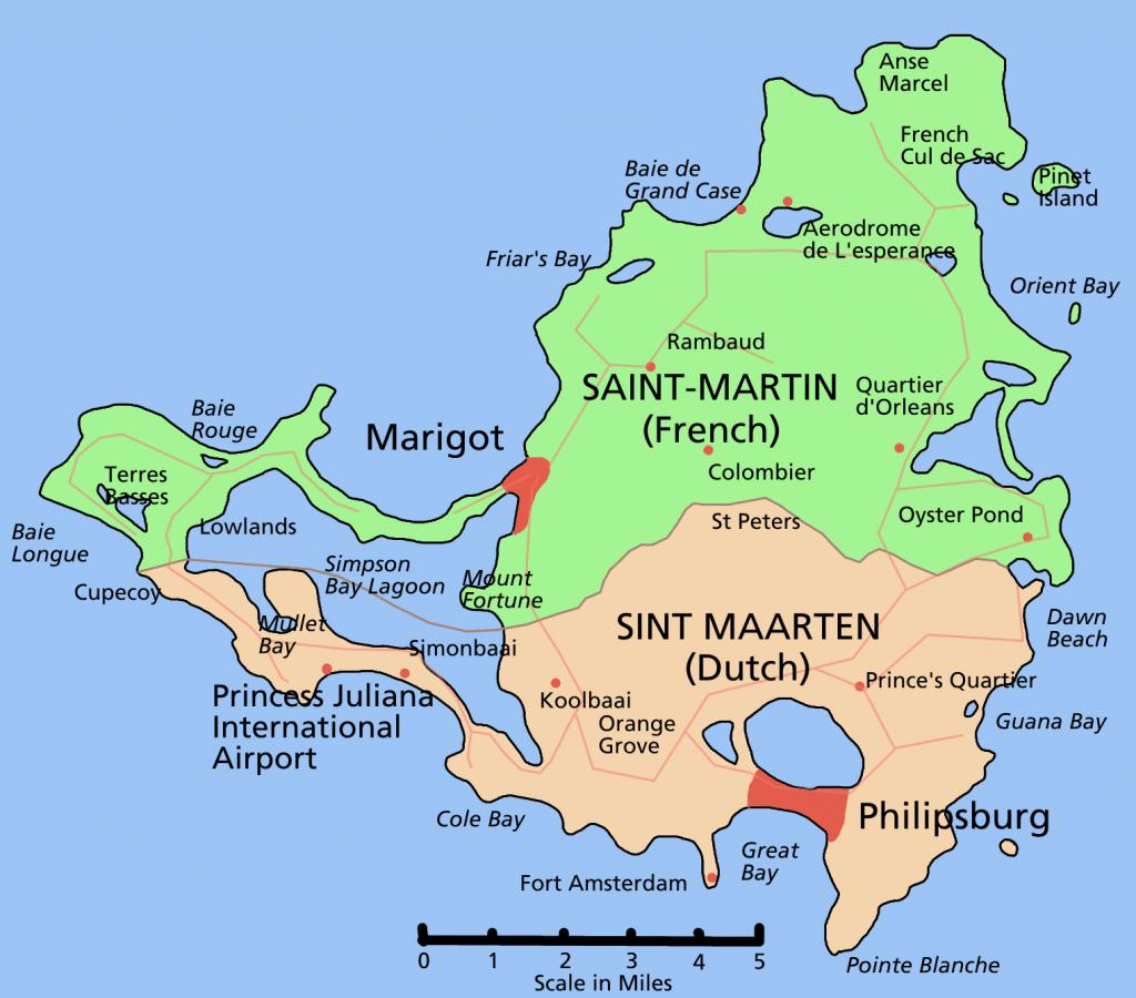 Saint Martin - Wikipedia - Printable Road Map Of St Maarten