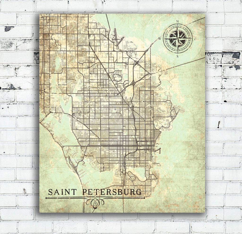 Saint Petersburg Canvas Print Florida Fl Vintage Map St Petersburg - City Map Of St Petersburg Florida