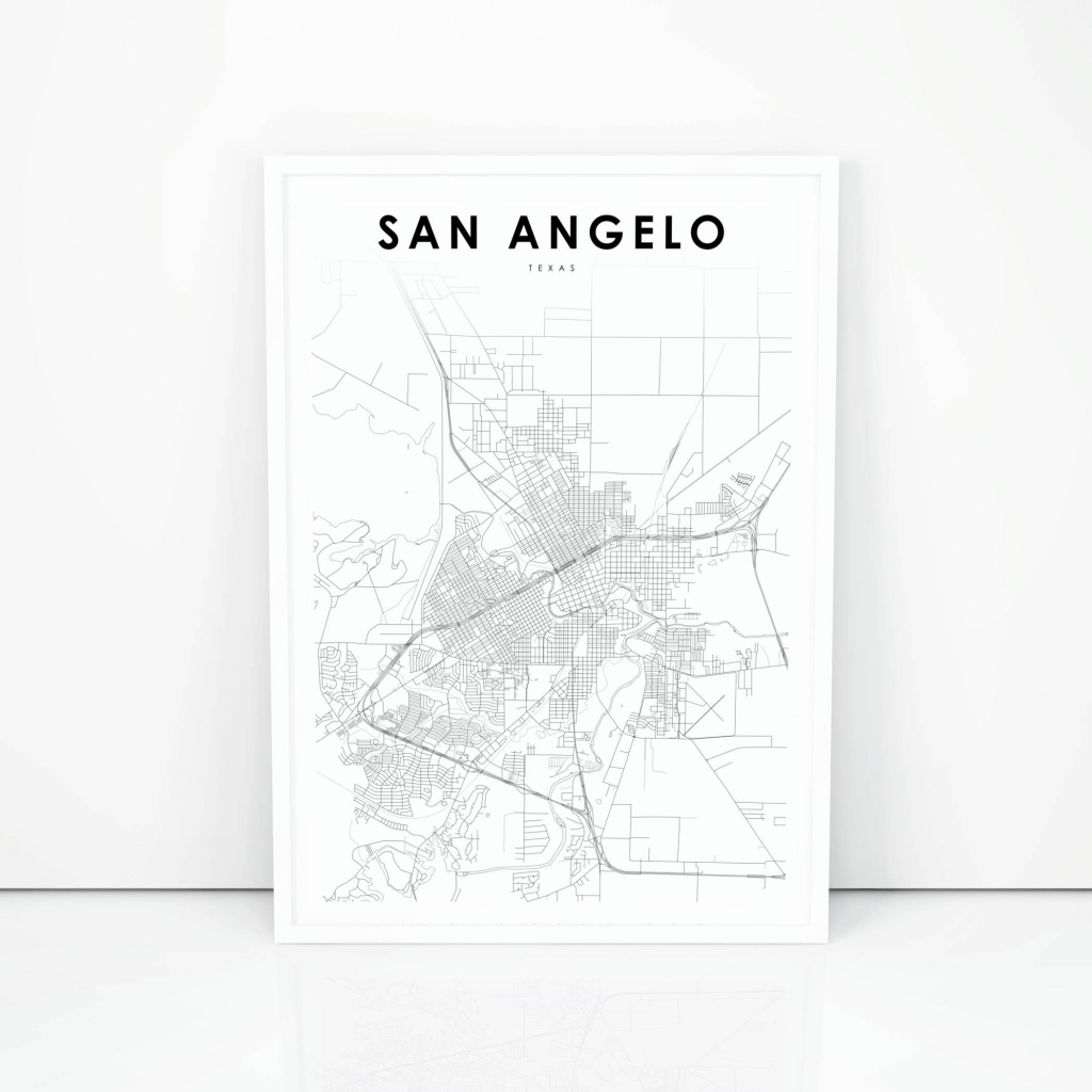 San Angelo Map Print Texas Tx Usa Map Art Poster City Street | Etsy - Street Map Of San Angelo Texas
