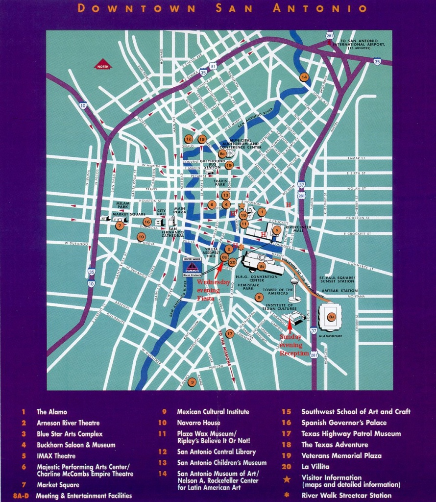 San Antonio Downtown Tourist Map - San Antonio Tx • Mappery - Map Of Hotels In San Antonio Texas