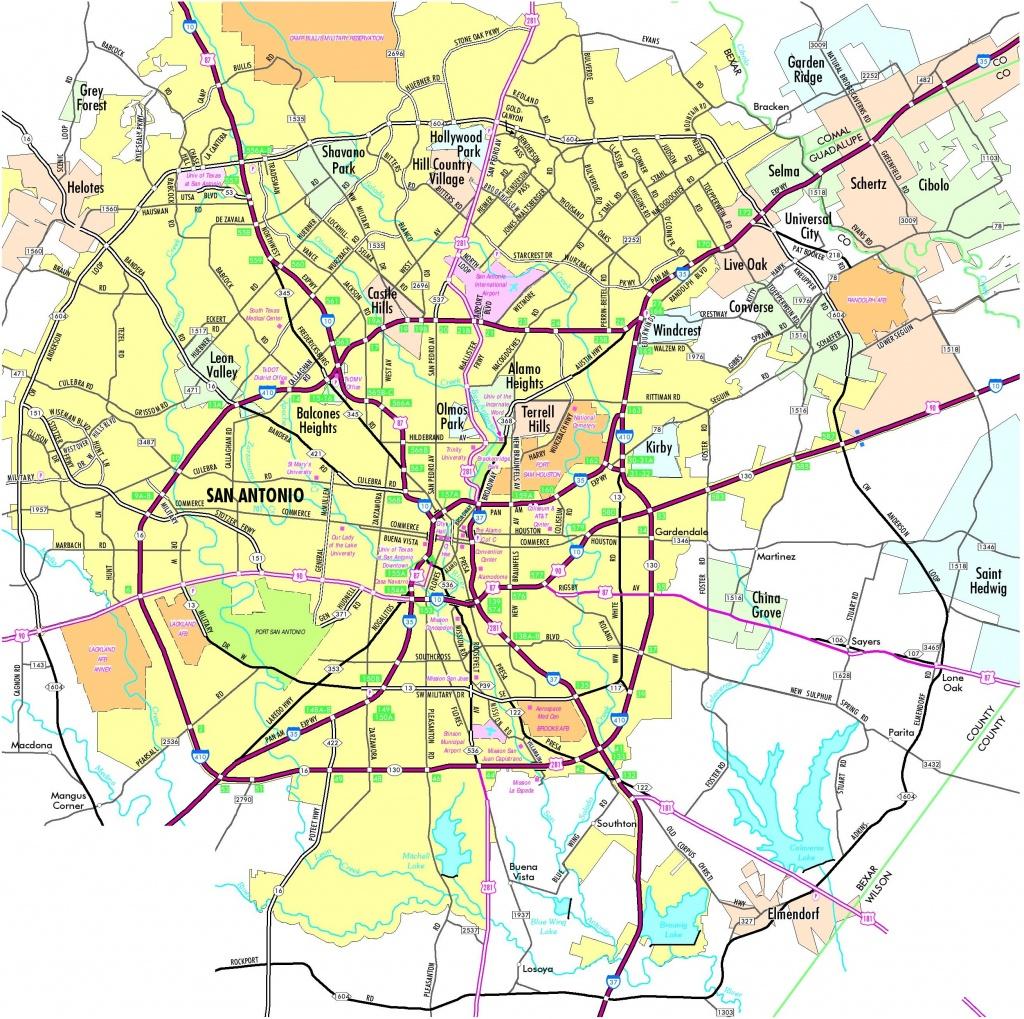 San Antonio Road Map - Detailed Map Of San Antonio Texas