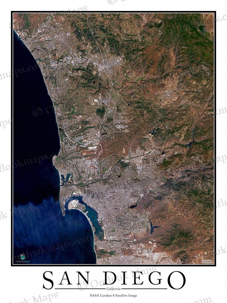 San Diego, Ca Area Satellite Map Print | Aerial Image Poster - Satellite Map Of California