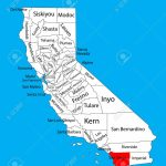 San Diego County (California, United States Of America) Vector   San Diego On The Map Of California