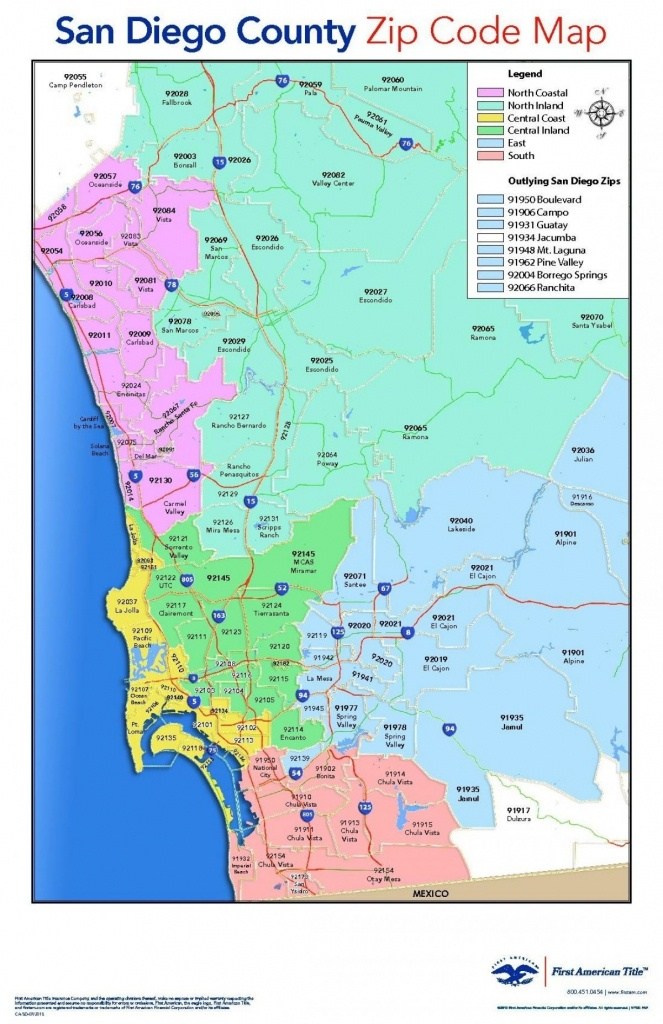 San Diego County Zip Code Map – San Diego County Map With Zip Codes - San Diego County Zip Code Map Printable