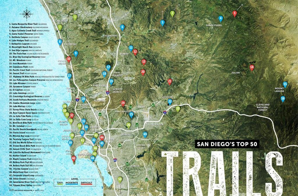 San Diego Trails Map - San Diego Hiking Trails Map (California - Usa) - California Hiking Trails Map