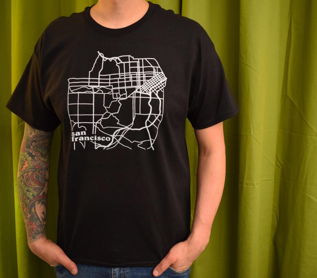 San Francisco California Illustrated Map T-Shirt Hand Screen Printed - California Map T Shirt