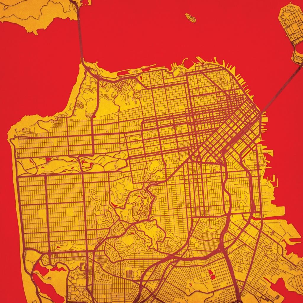 San Francisco, California Map Art - City Prints - Map Of San Francisco California Usa