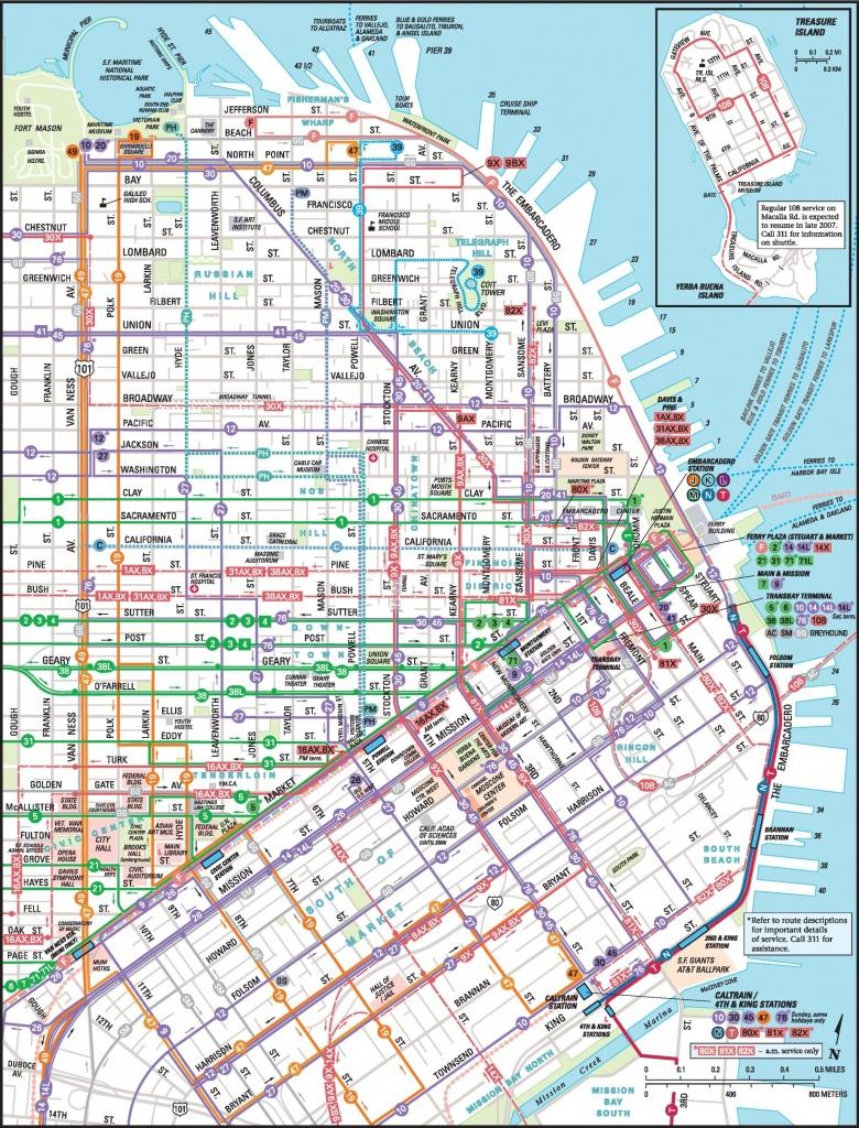 San Francisco Downtown Muni Map - Printable Map Of San Francisco Downtown