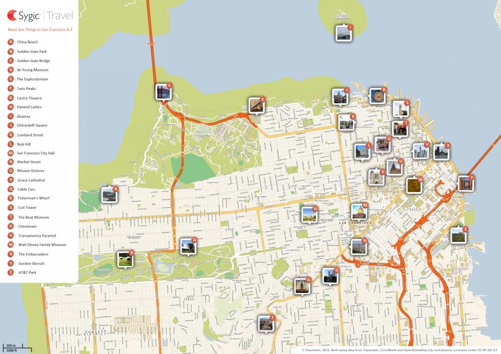 San Francisco Printable Tourist Map | Sygic Travel - Printable Map Of San Francisco Streets