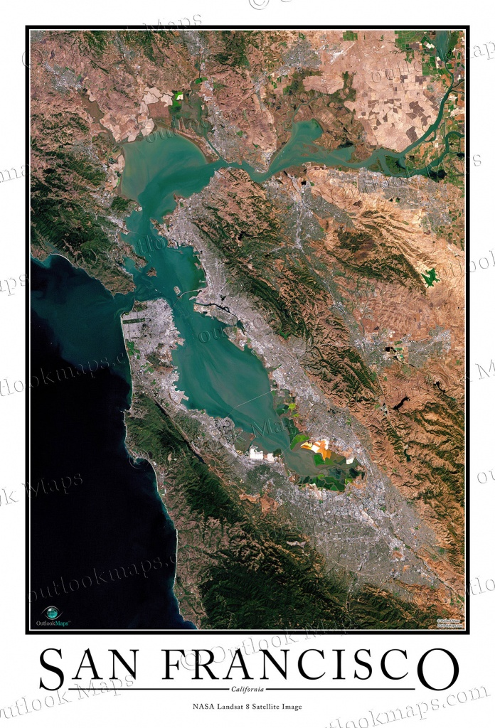 San Francisco Satellite Map Print | Aerial Image Poster - Satellite Map Of California