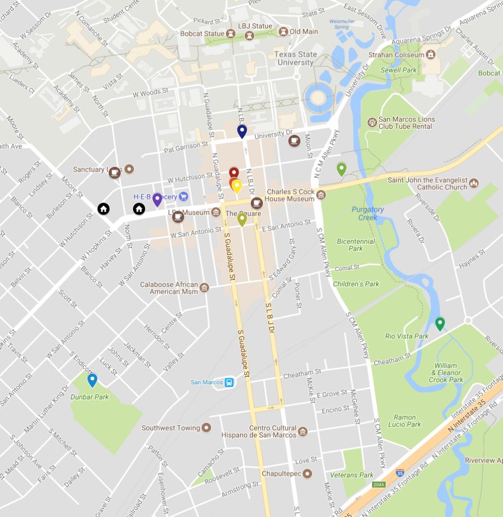 San Marcos Murals On Google Map | Texas Highways - Google Maps Texas