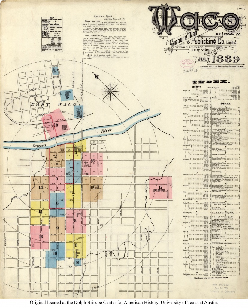 Sanborn Maps Of Texas - Perry-Castañeda Map Collection - Ut Library - Map Of Waco Texas And Surrounding Area