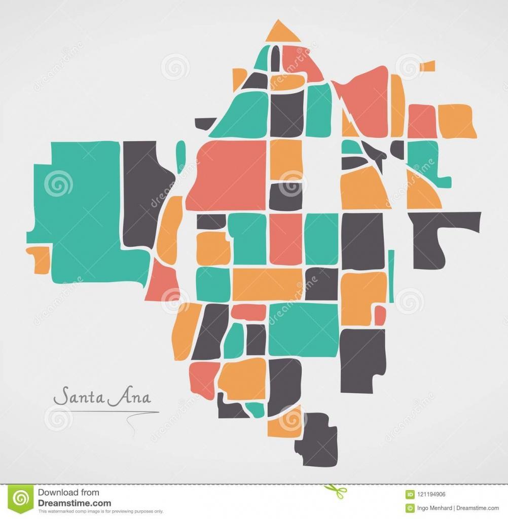 Santa Ana California Map Avec Des Voisinages Et Le Sha Rond Moderne - Santa Ana California Map