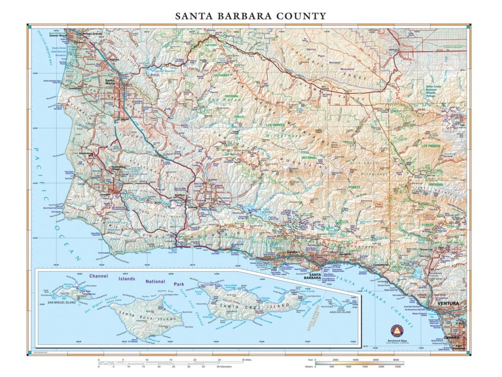 Santa Barbara County Wall Map — Benchmark Maps - Benchmark Maps California