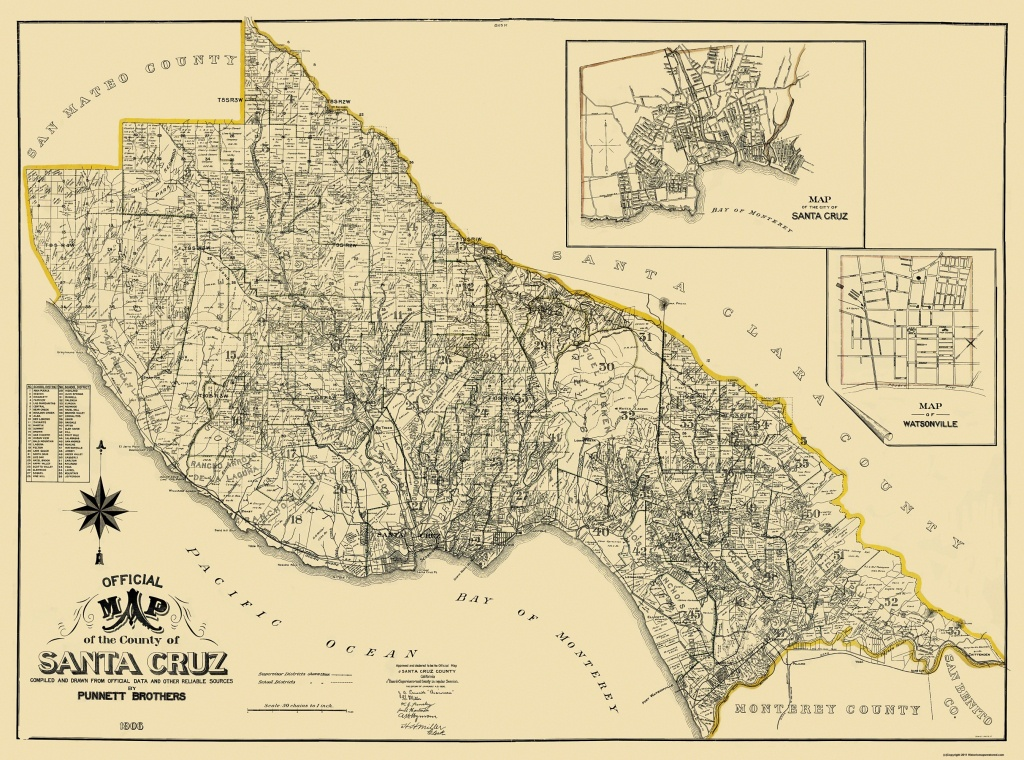Santa Cruz 1906 Landowner California Map Old County Mnwv08N - Santa Cruz California Map