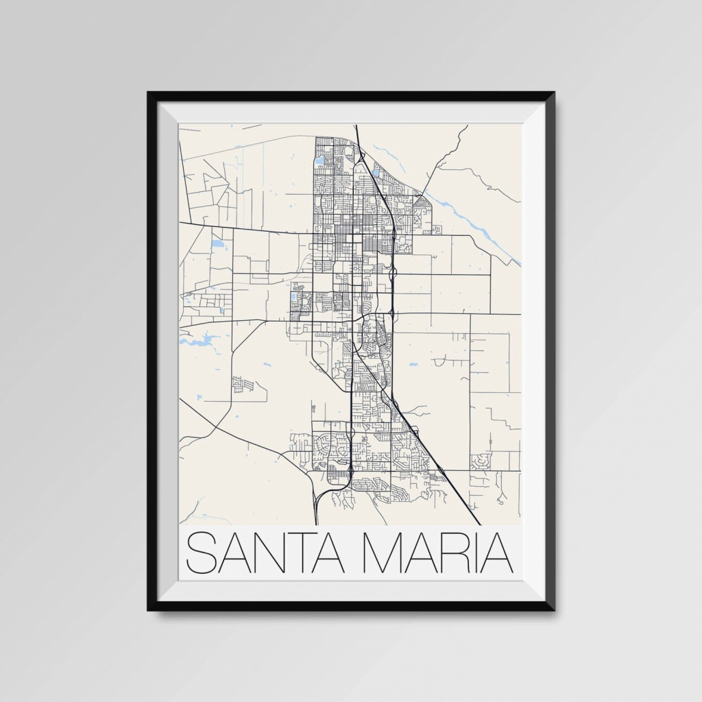 Santa Maria California Map Santa Maria City Map Print Santa | Etsy - Santa Maria California Map