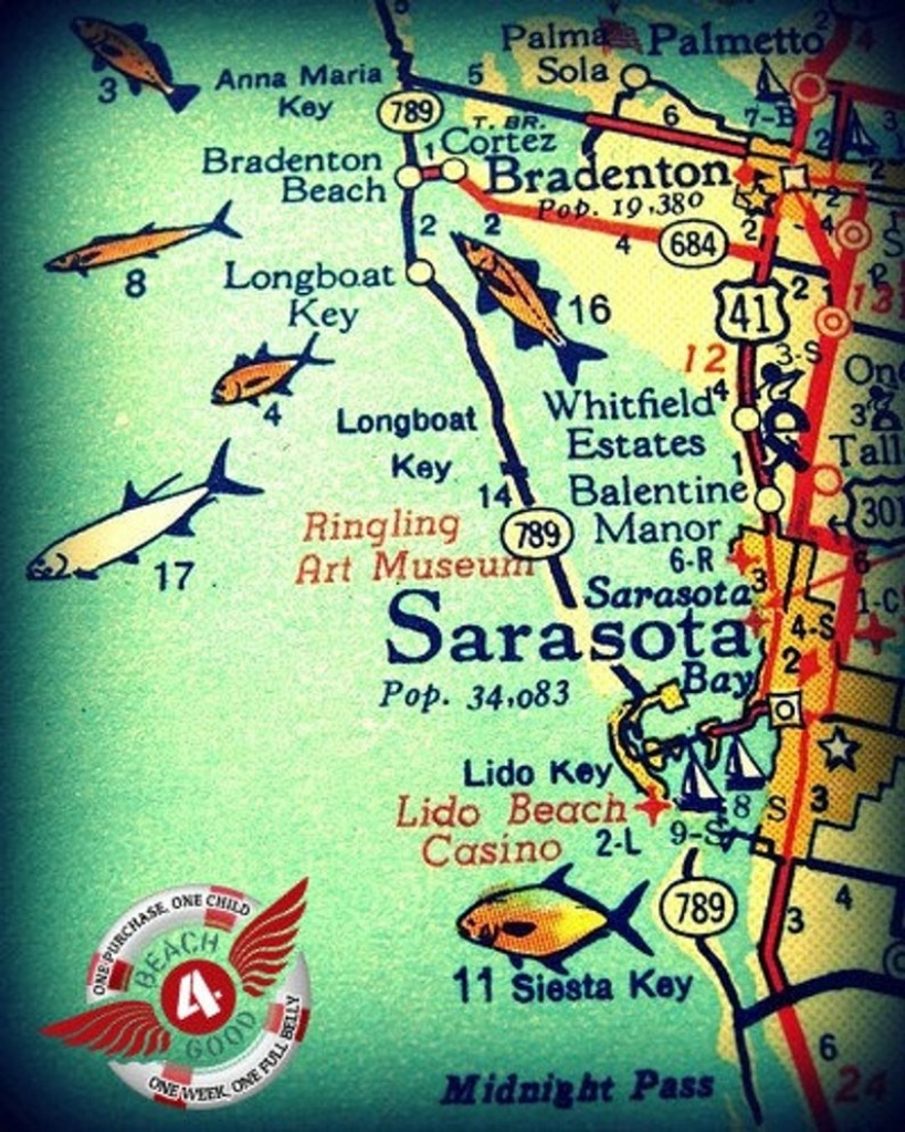 Sarasota Map Art Vintage Florida Map Art Sarasota Wall Art   Etsy - Lido Beach Florida Map
