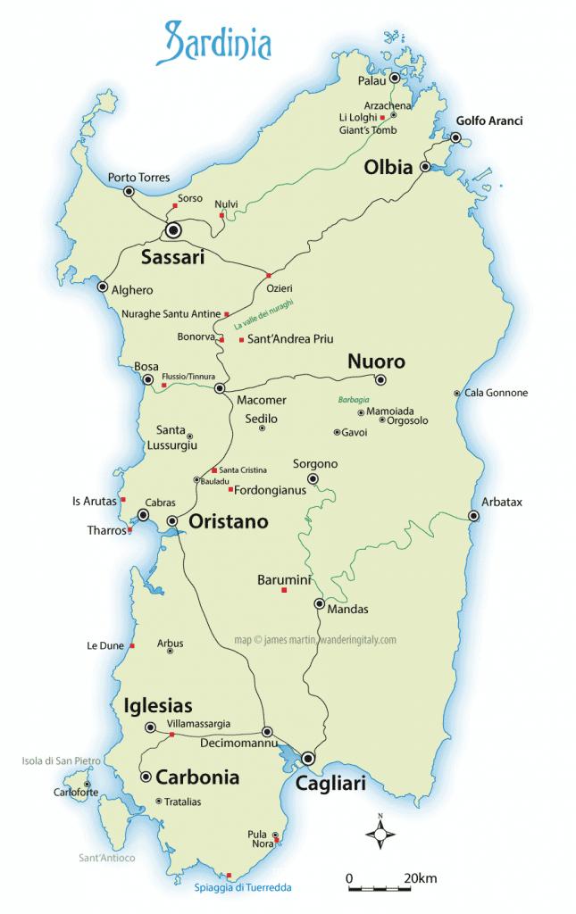 Sardinia Map And Travel Guide   Wandering Italy - Printable Map Of Sardinia