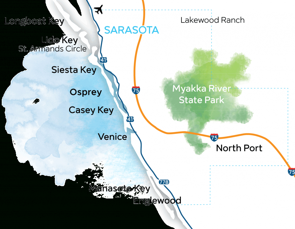 Sarsota Beaches Map | Florida (Not Disney/universal) | Siesta Key - Casey Key Florida Map