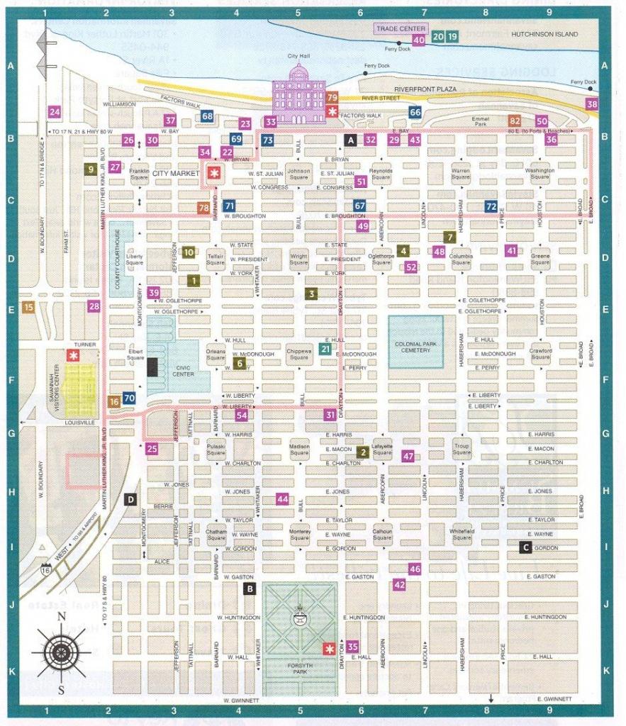 Savannah Ga Downtown Historic District Map - Savannah Georgia - Printable Map Of Savannah Ga