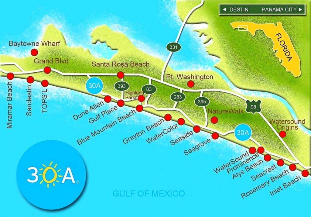 Scenic Highway 30-A Is A 28.5 Mile Slice Of Paradise That Hugs The - Map Of Northwest Florida Beaches