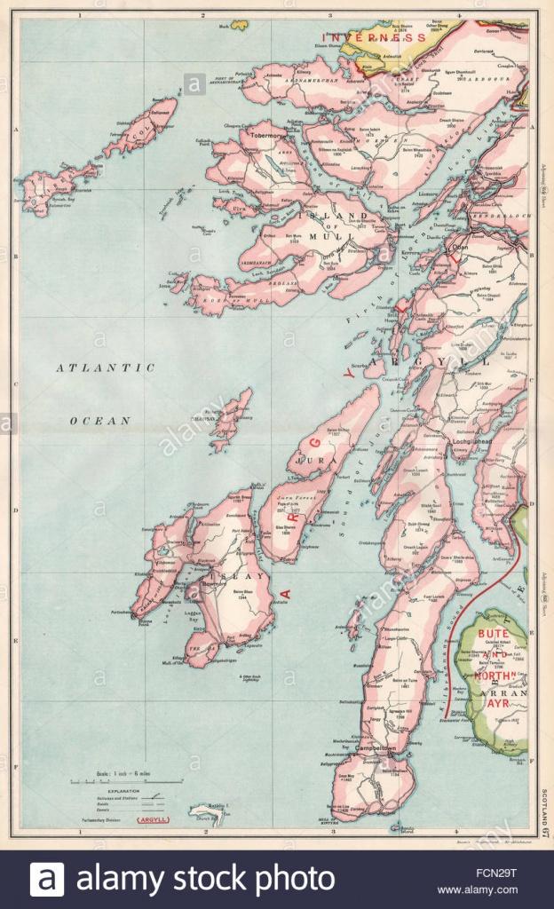Scottish Islands/argyll:mull Islay Of Kintyre Jura Arran Stock Photo - Printable Map Of Mull