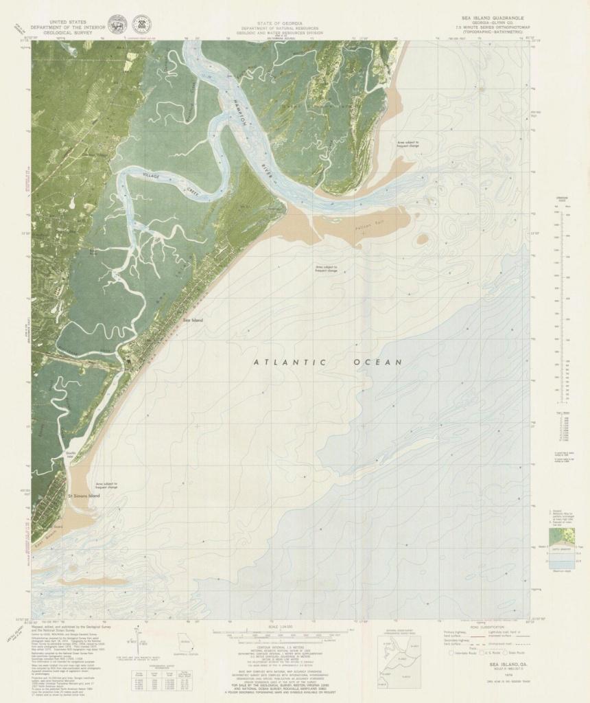 Sea Island Georgia Map 1979 | Etsy - Printable Map Of St Simons Island Ga