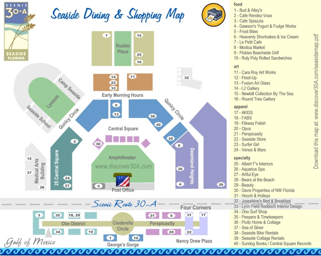Seaside Dining And Shopping Map | Discover 30A Florida - Seaside Florida Town Map