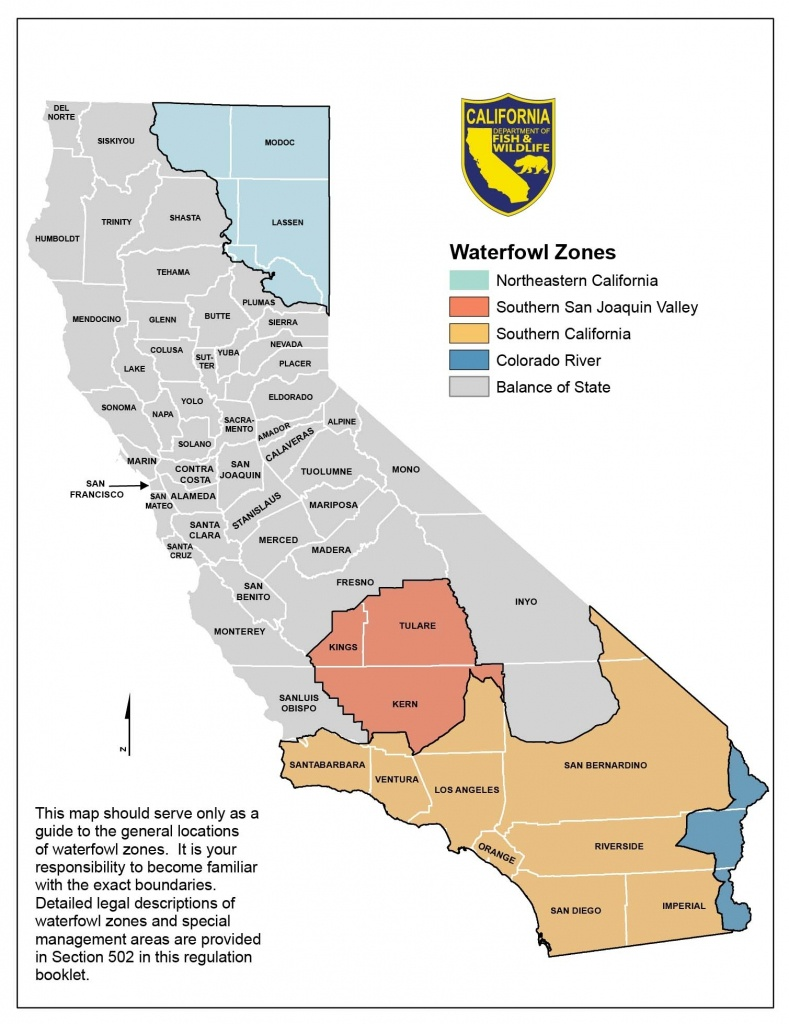 Season Dates And Bag Limits – California Waterfowl Association In - California B Zone Deer Hunting Map