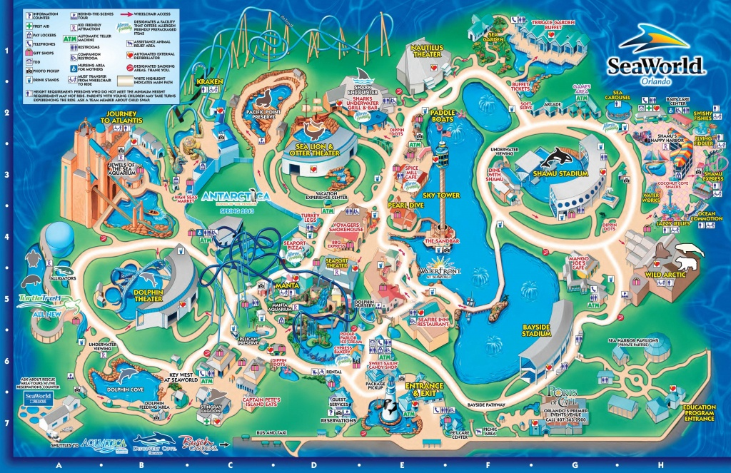 Seaworld Orlando Theme Park Map - Orlando Fl • Mappery | Aquariums - Seaworld Orlando Map 2018 Printable