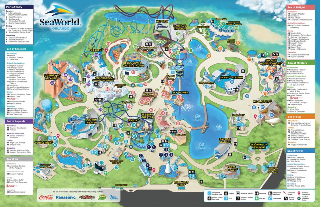 Seaworld - Park Information And Guide Map For Seaworld Orlando - Seaworld Orlando Map 2018 Printable