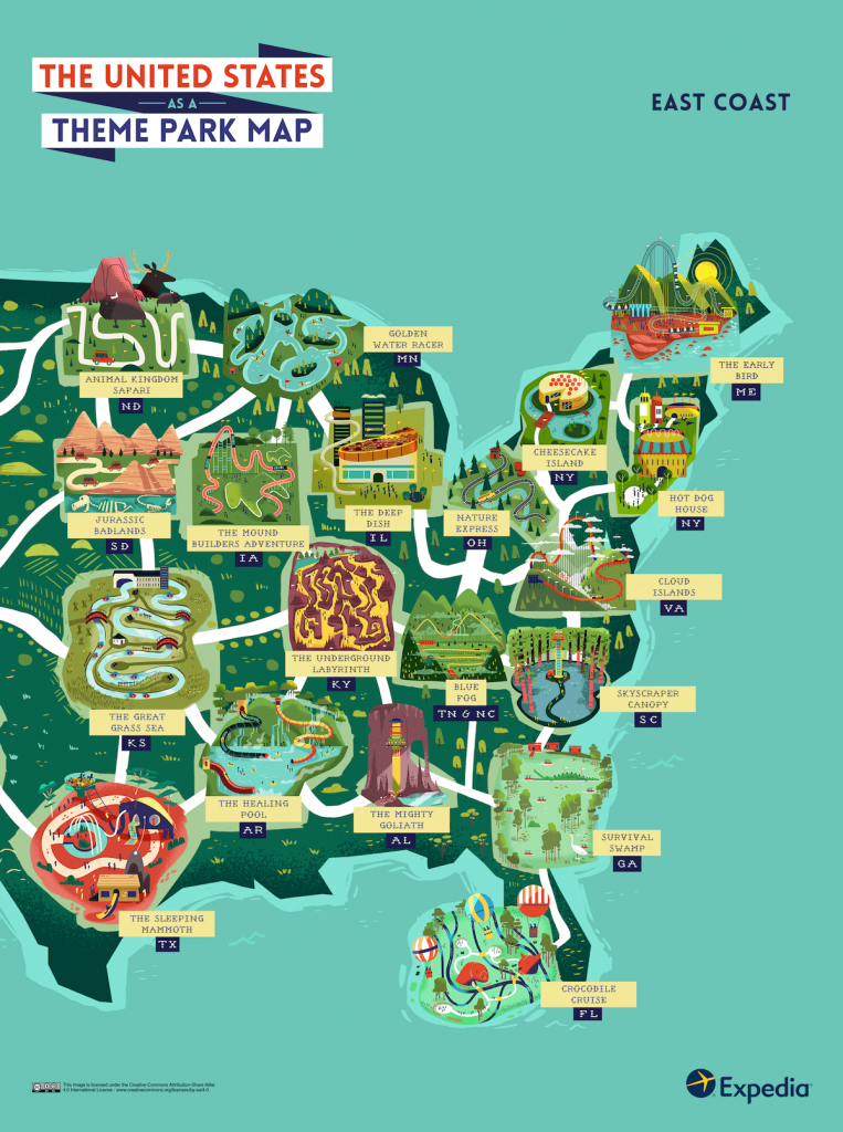See The Usa As An Outdoor Theme Park With This Colourful Map - Florida Theme Parks On A Map