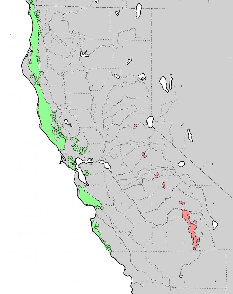 Sequoia (Genus) - Wikipedia - Sequoias In California Map