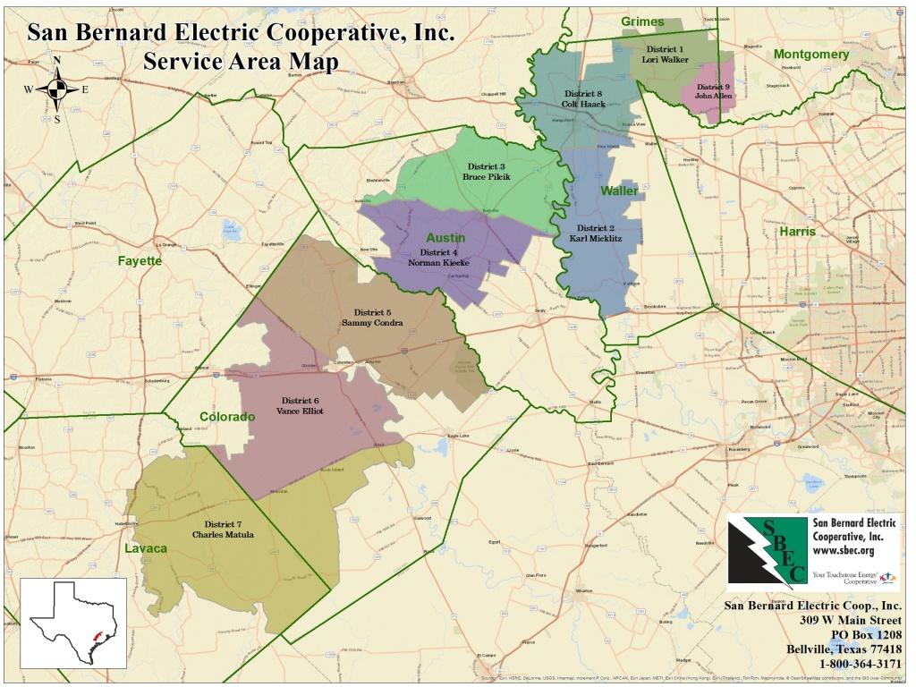 Service Territory Map   San Bernard Electric Cooperative - Texas Electric Cooperatives Map