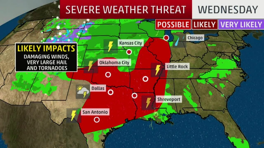 Severe Storms, Flooding In The Forecast Today For Texas, Southern - Texas Weather Map