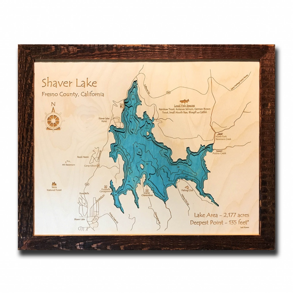 "Shaver Lake, Ca 3-D Nautical Wood Map, 16"" X 20"" - Shaver Lake California Map"