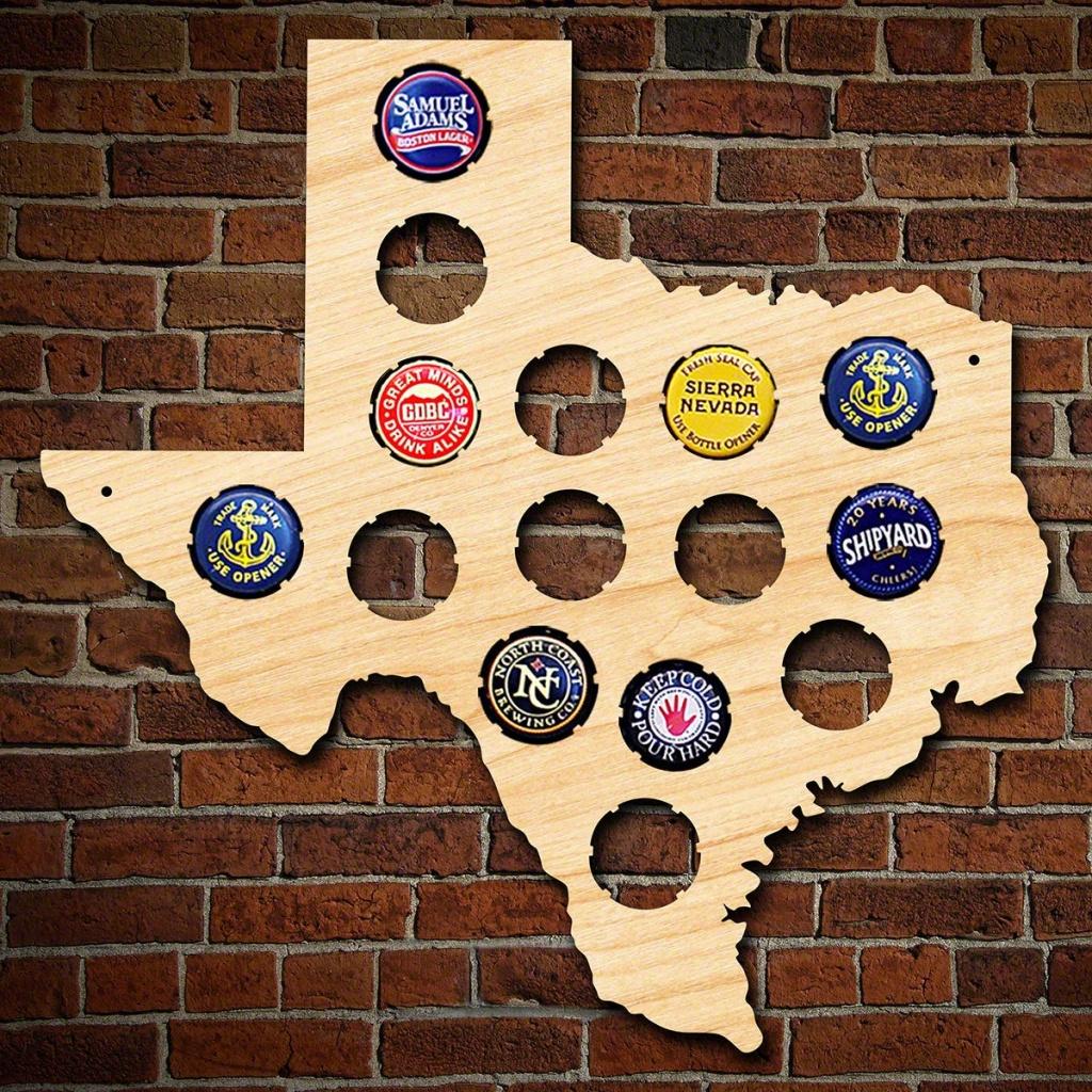 Small Texas Beer Cap Map Unique Beer Gifts For Men Birch | Etsy - Texas Beer Cap Map