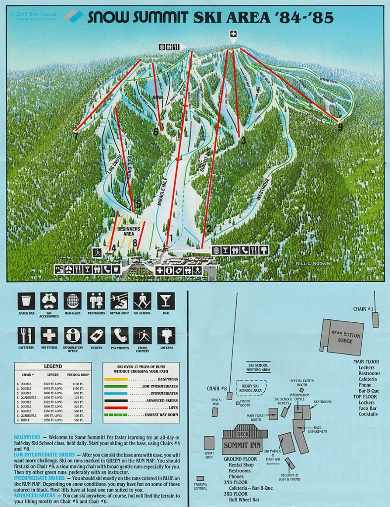 Snow Summit Trail Map | Southern California Ski Areas - Southern California Ski Resorts Map
