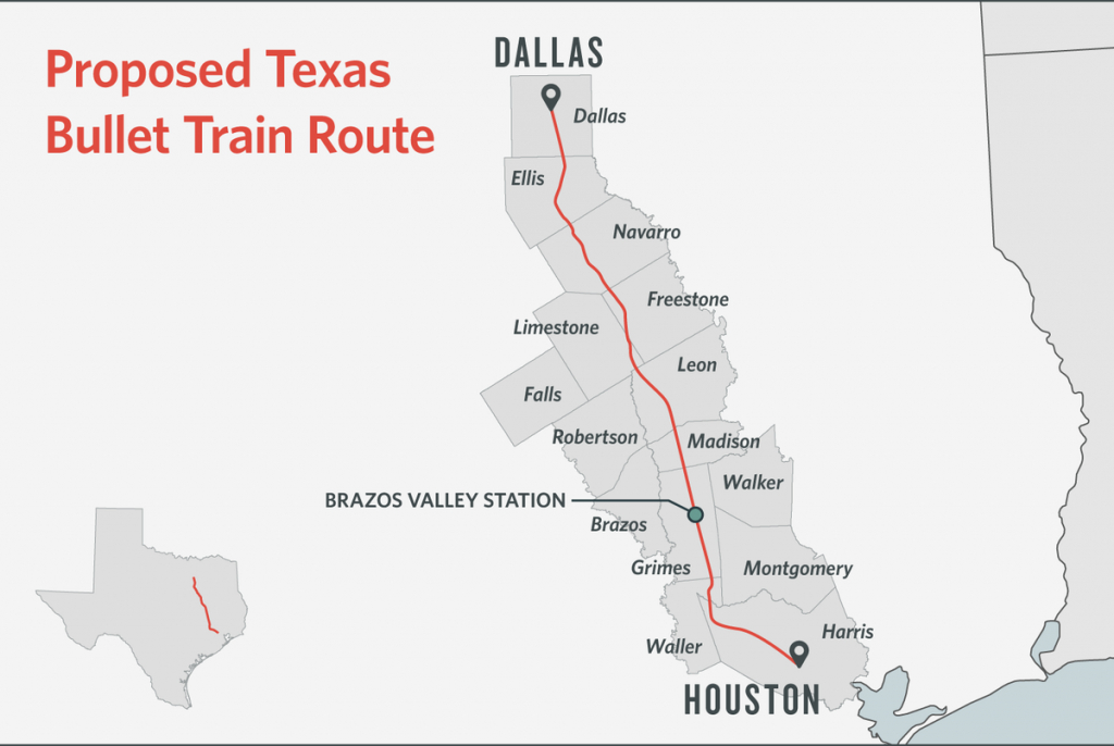 Some Texans Dodge Bullet Train, Others Are Square In Its Path   The - High Speed Rail Texas Route Map