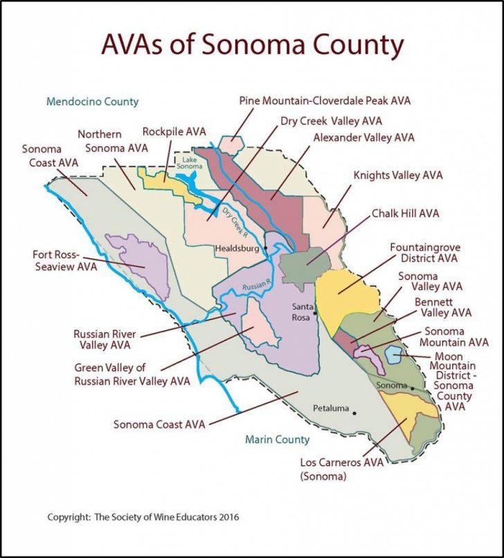 Map Of Sonoma California Area