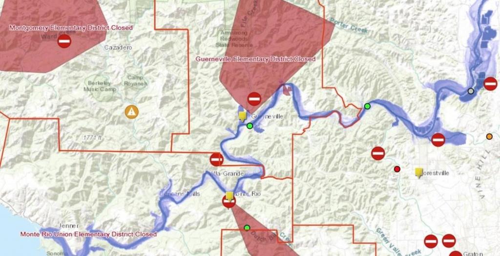 Sonoma County Flood Map: Road Closures, Sandbag Locations, Power - Graton California Map