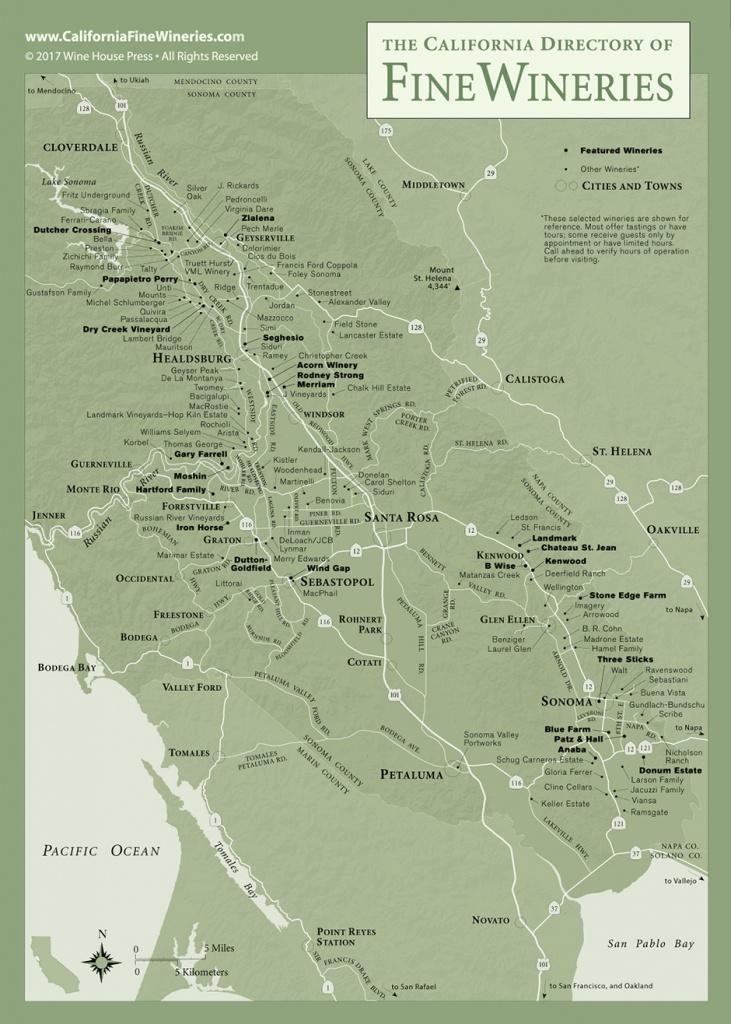 Sonoma County Map Of California Fine Wineries - Sonoma Valley California Map