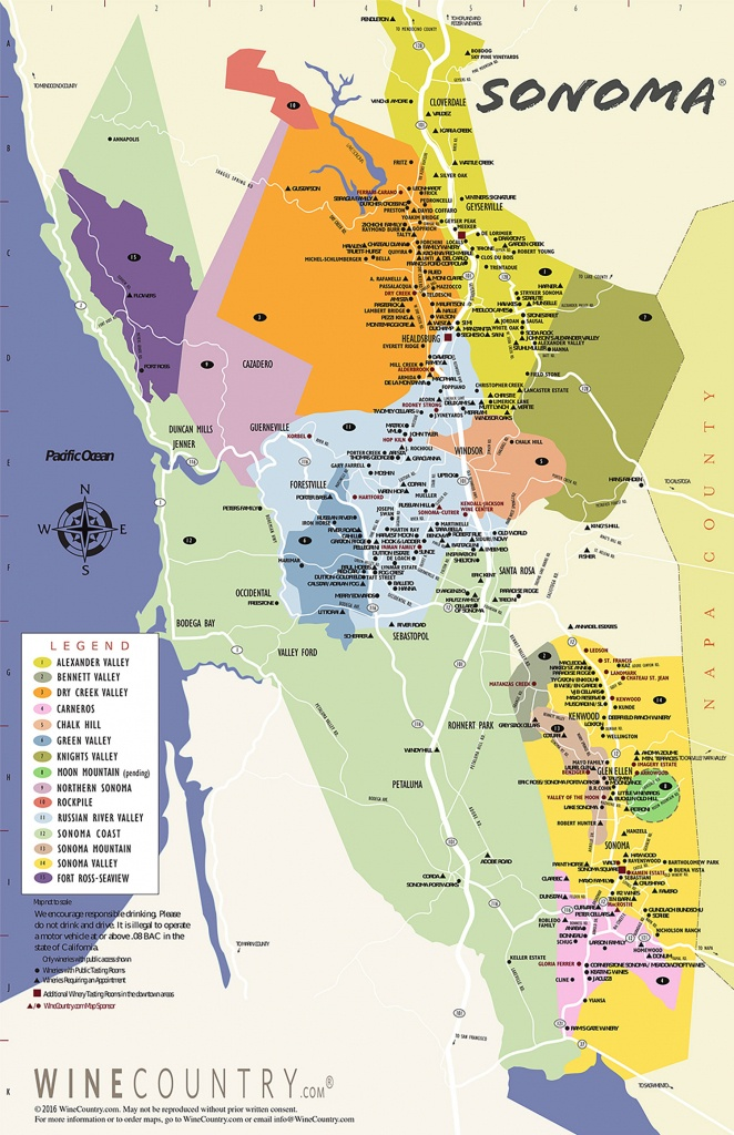 Sonoma County Wine Country Maps - Sonoma - California Wine Map Poster