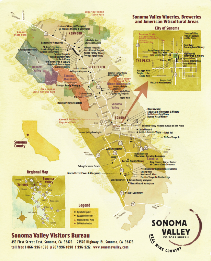Sonoma Valley Wine Map - Best In Sonoma - Wine Tasting California Map