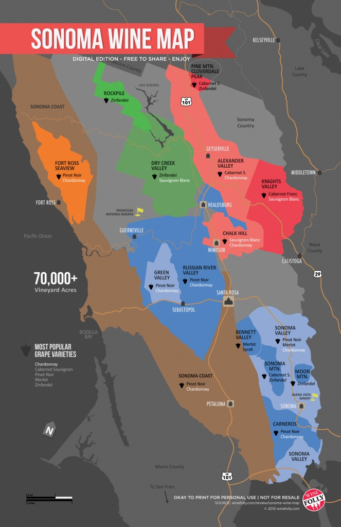 Sonoma Wine Map (Poster) | Wine Folly - Map Of Sonoma California Area