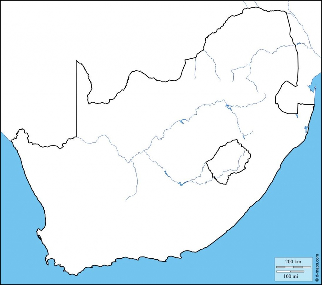South Africa Map Outline - Outline Map Of South Africa Printable - Printable Map Of South Africa