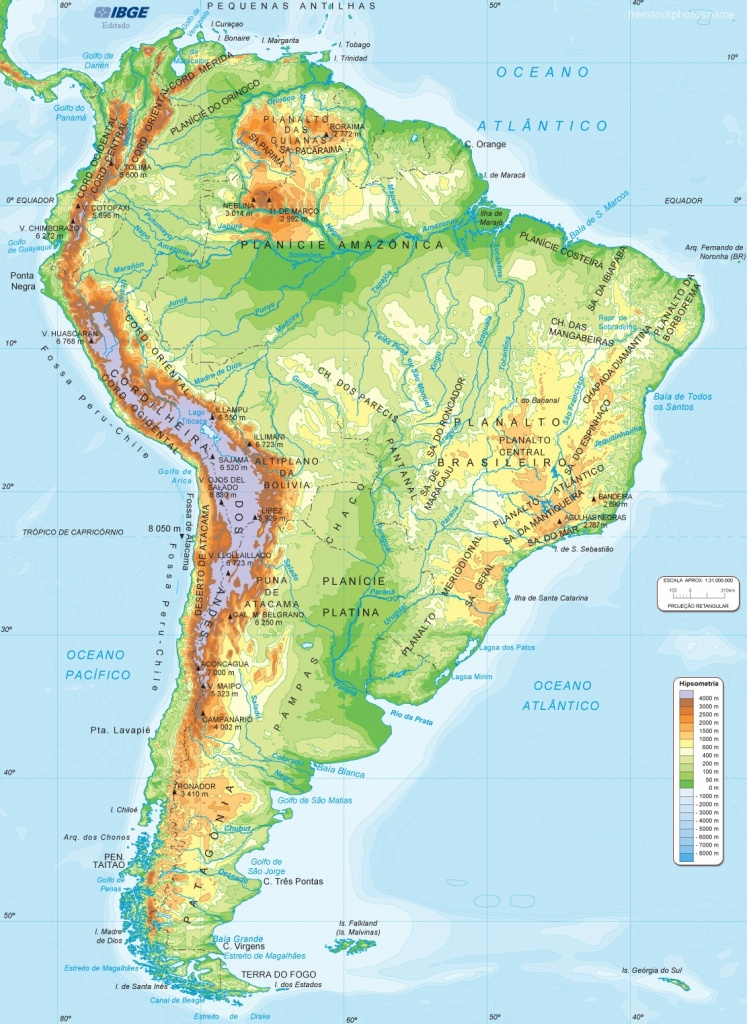 South America Map Physical - Lgq - South America Physical Map Printable