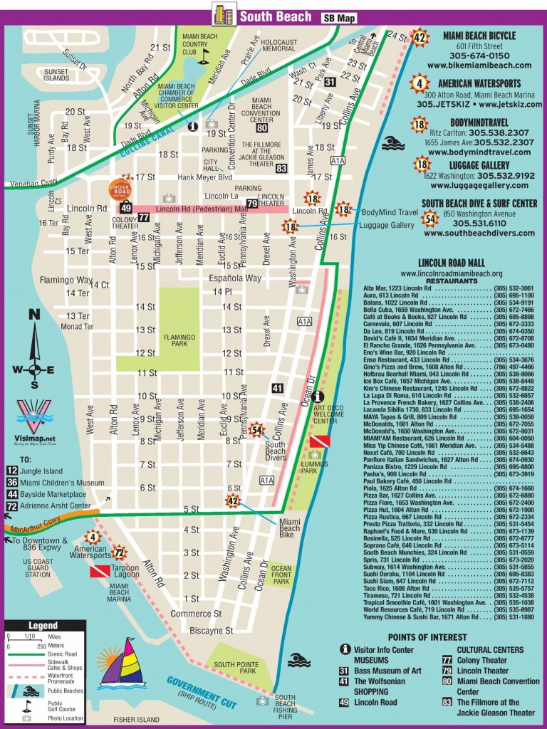 South Beach Restaurant And Sightseeing Map | Miami | South Beach - Map Of Miami Beach Florida